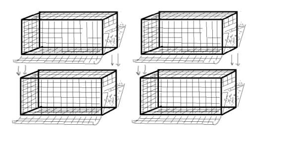 схема установки клеток в два ряда