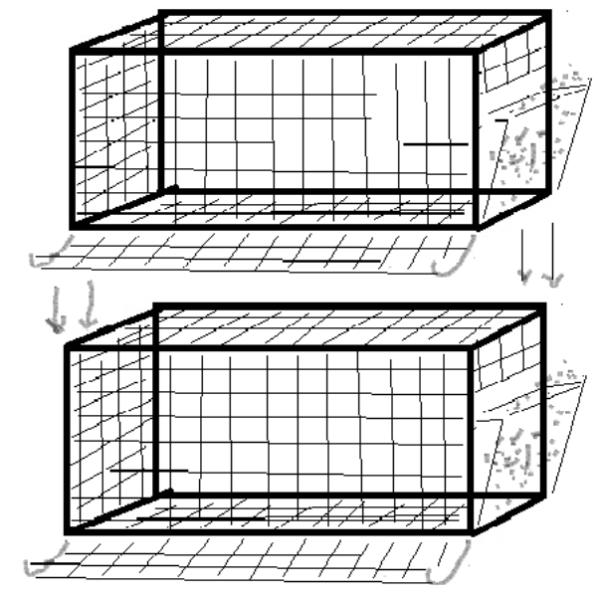 схема установки клеток в один ряд