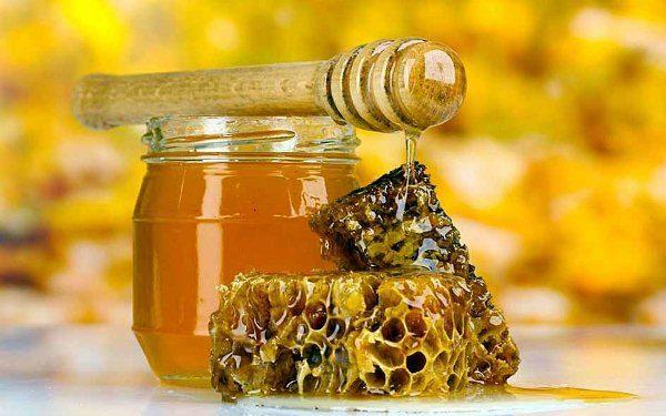 Горный мёд в сотах и стеклянной банке