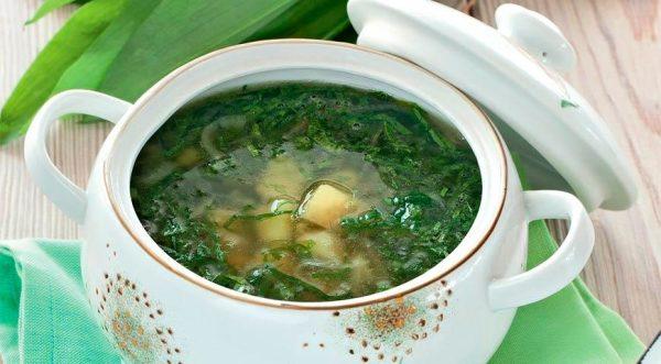 Суп картофельный с черемшой