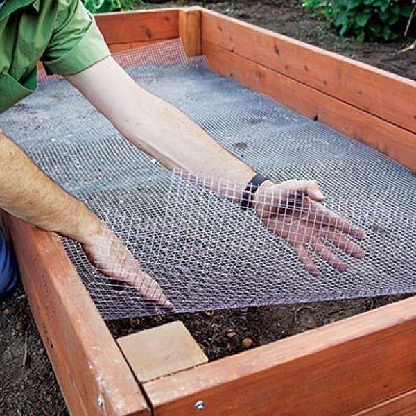 Для защиты от грызунов под дно первого яруса нужно постелить рабицу