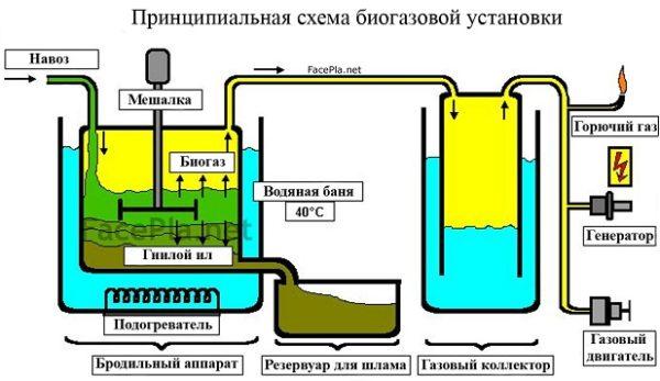 Схема биогазового реактора